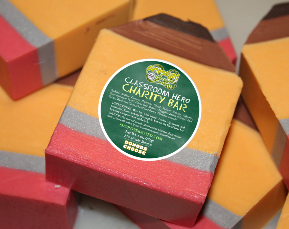 OverSoyed Fine Organic Products - Classroom Heroes Charity Bar Soap - Golden Delicious Apple Scented Pencil Soap - Benefits School Classrooms Through Donors Choose