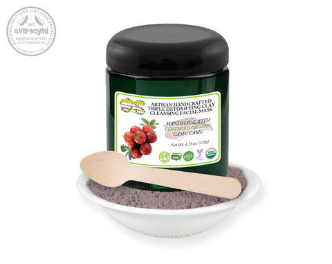 Camu Camu Artisan Handcrafted Triple Detoxifying Clay Cleansing Facial Mask