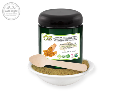 Bee Pollen Artisan Handcrafted Triple Detoxifying Clay Cleansing Facial Mask