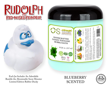 Rudolph The Red-Nosed Reindeer® Limited Edition Gooey Tub Slime™ - Blueberry Scented Bubble Bath - Bumble the Abominable Snow Monster Rubber Ducky