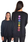 Full Chakra Back on Drop Shoulder Fleece Sweatshirt  Full Chakra Back - Third Eye Threads