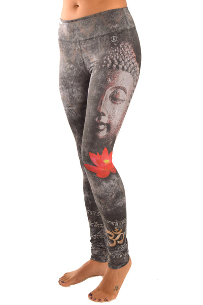 Buddha Leggings With Red Lotus - Third Eye Threads