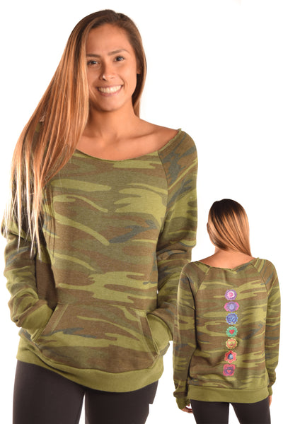 Camouflage Sweatshirt Recycled Water Bottle and Organic Cotton with Full Chakras