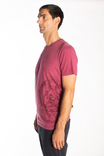 Japanese Buddha on the side of Tri Blend Crew Neck Tee - Third Eye Threads