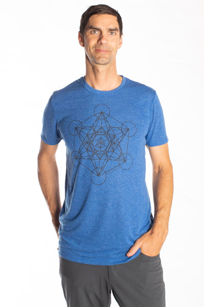 METATRON'S CUBE ON LINEN BLEND CREW NECK - Third Eye Threads