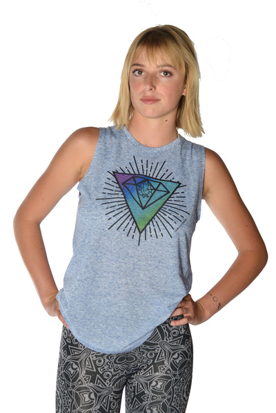 Diamond Logo With Sacred Geometry on Linen Boyfriend Tee - Third Eye Threads