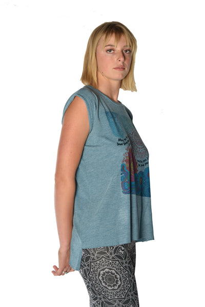 Flowy Greaser Muscle Tee With Double Sun Chant With Rolled Cuff - Third Eye Threads