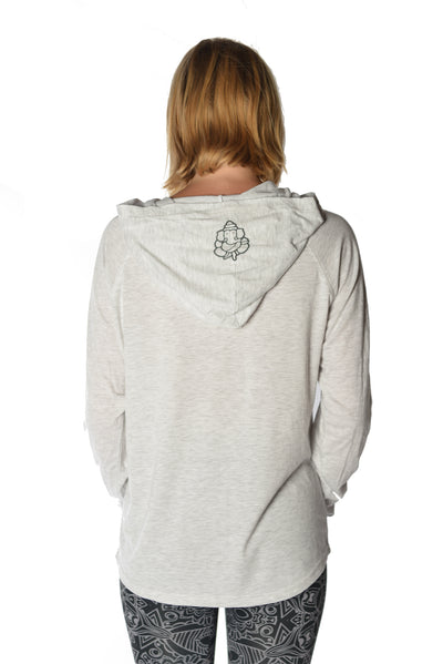 Long Sleeve Pullover Hoodie with Paisley Om - Third Eye Threads