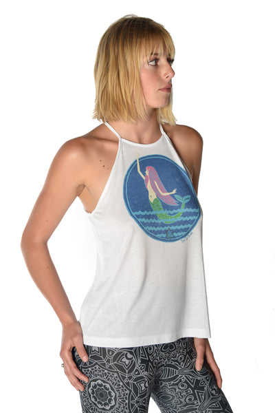 Mermaid on flowy high neck tank - Third Eye Threads