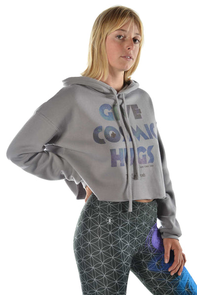 "Crop Top Hoodie with ""Give Cosmic Hugs"" Quote - Third Eye Threads"
