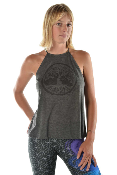 """Tree of Life"" on flowy high neck tank - Third Eye Threads"