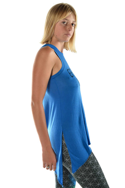 "Flowy Shark Bite Sleeveless Tee  ""Effortless Elegance"" - Third Eye Threads"