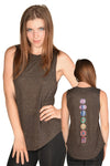 Black Linen Blend Full Chakra Back Boyfriend Tee - Third Eye Threads