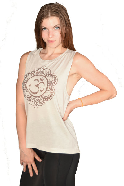 Henna Om on boyfriend tank - Third Eye Threads