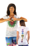 Heart Chakra on front with Full Chakra Back on Boat Neck Burnout Crew