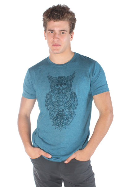 Sacred Geometry OWL TRI-BLEND CREW NECK TEE - Third Eye Threads