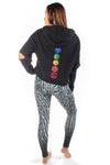 Black Elbow Cut Out Full Chakra Back Terry Cloth Low Crop Hoodie - Third Eye Threads