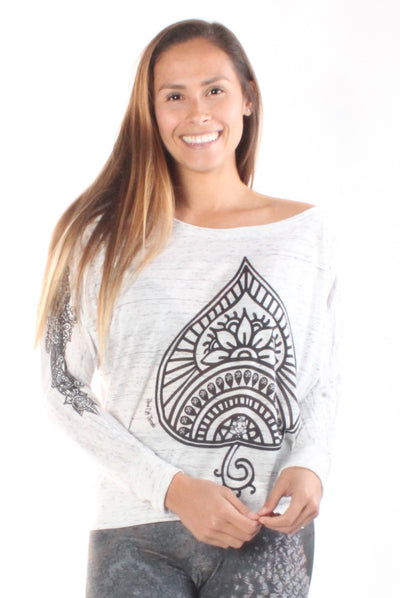 Auspicious Spade On Long Sleeve Dolman Tee with Henna Sleeve - Third Eye Threads