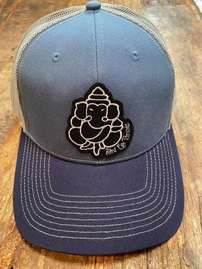 Two Tone Blue Trucker Hat With Light Gray Mesh Back