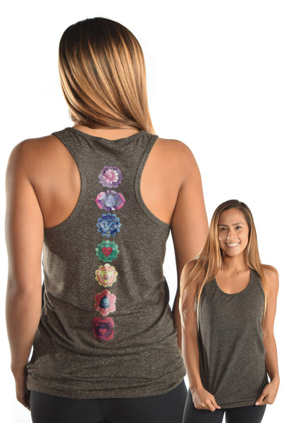 Coal Linen Racerback with Full Chakra Back - Third Eye Threads