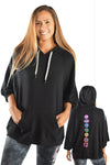 Black Kimono Hoodie With Full Chakra Back - Third Eye Threads