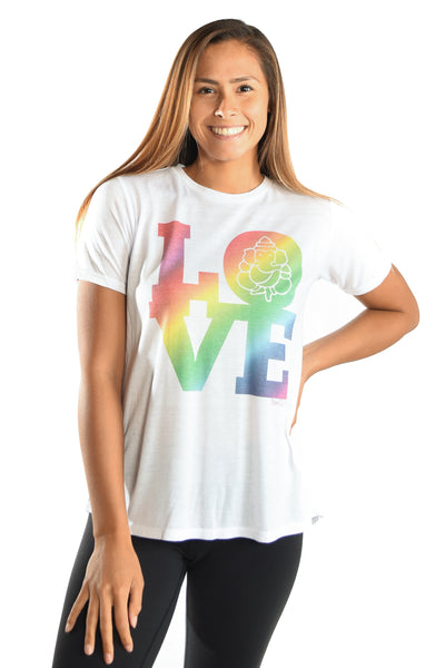 RAINBOW LOVE GANESH ON WOMEN'S WHITE SHORT SLEEVE SHIRRED BACK TEE - Third Eye Threads