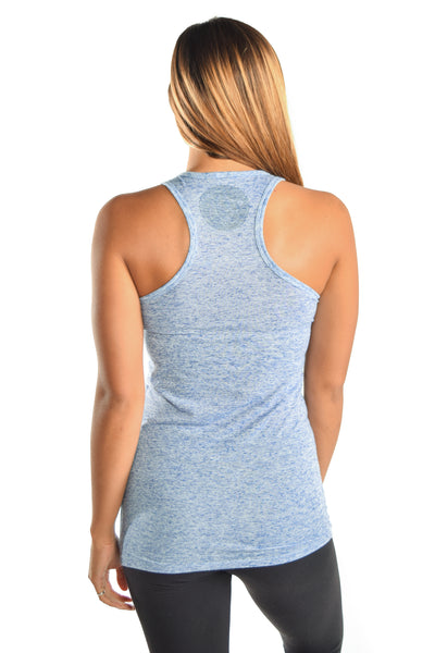 Linen Blueberry Racerback Tank with Blue Auspicious Spade - Third Eye Threads