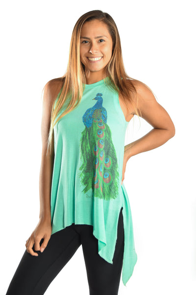 Peacock on Sharkbite Tunic Tee - Third Eye Threads