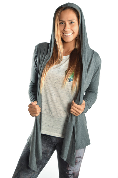 Eco-Gray Wrap Hoodie with I Am Health Wealth And Abundance - Third Eye Threads
