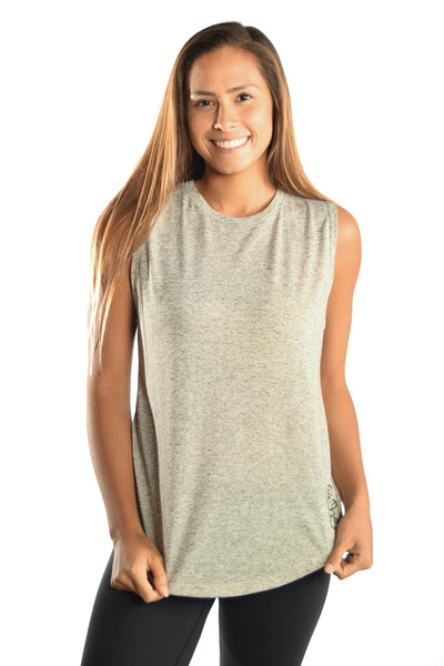 Oatmeal Linen Blend Boyfriend Tee with Full Chakra Back - Third Eye Threads