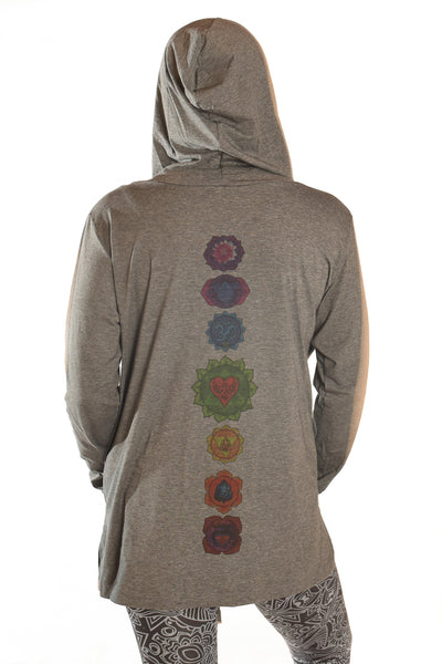 Full Chakra Back Eco-Gray Wrap Hoodie - Third Eye Threads