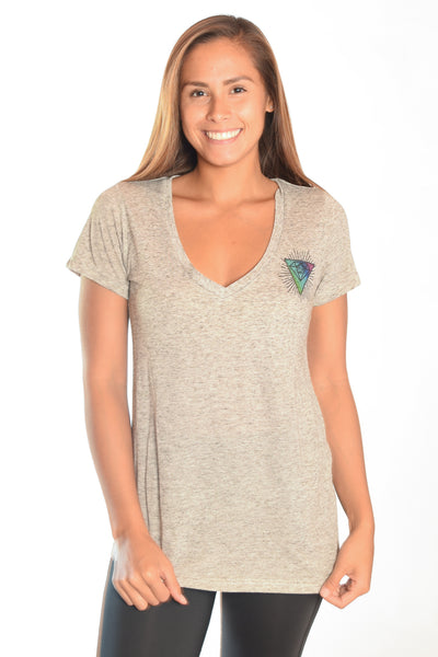 Light Heather Gray V-Neck with Rainbow Crystal Vibration Ganesh Logo - Third Eye Threads
