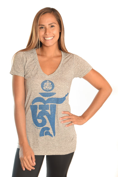 Light Heather Gray V-Neck with Tibetan Om - Third Eye Threads
