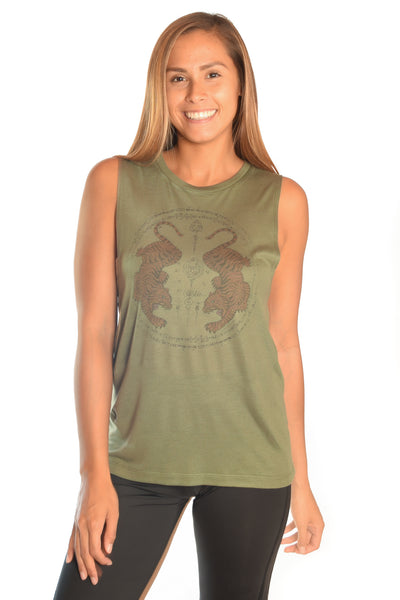 Thai Tigers On Military Green - Third Eye Threads