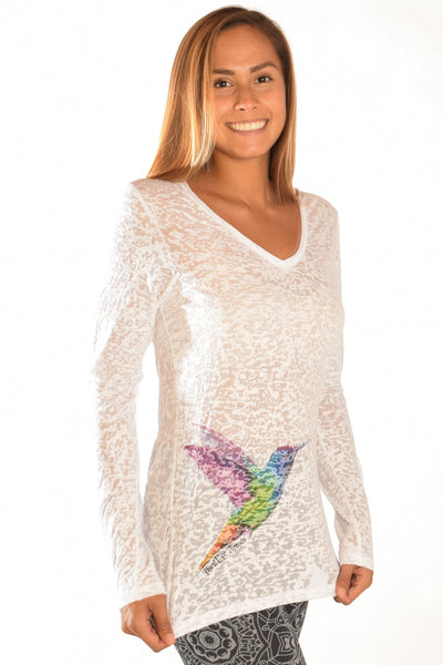 Humming Bird White Long Sleeve V-Neck Burnout - Third Eye Threads