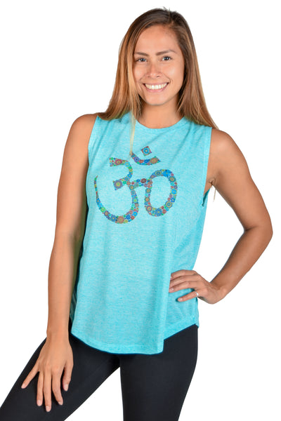 Linen Boyfriend Tee with 70's Flower Om - Third Eye Threads