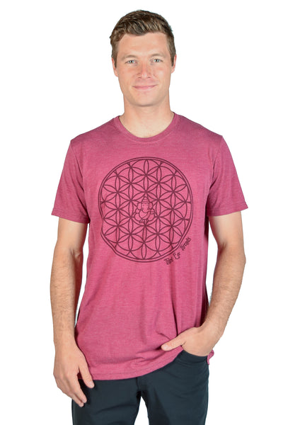 The Flower of Life Recycled Water Bottle and Organic Cotton Crew Neck Crew Neck Tee - Third Eye Threads