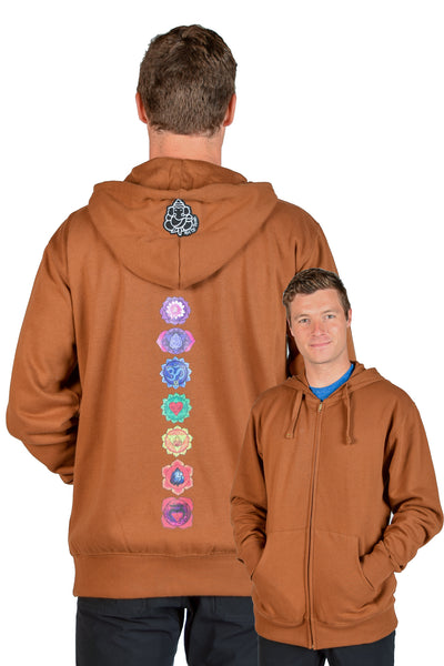 Organic Cotton Hoodie With Full Chakra Back - Third Eye Threads