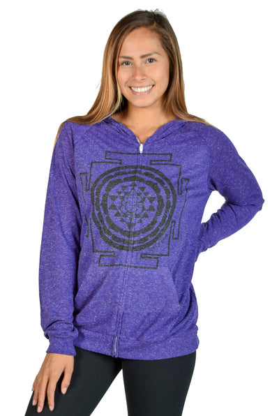 Linen Zip Up Hoodie With Sri Yantra - Third Eye Threads