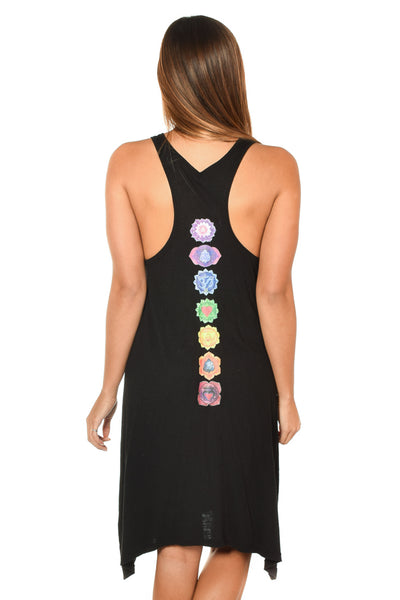 FULL CHAKRA ON BLACK SUMMER DRESS - Third Eye Threads