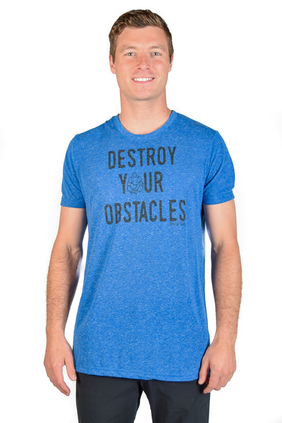 DESTROY YOUR OBSTACLES ON LINEN BLEND CREW NECK