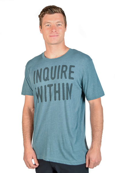 MEN'S SLATE SHORT SLEEVE CREW TEE WITH INQUIRE WITHIN