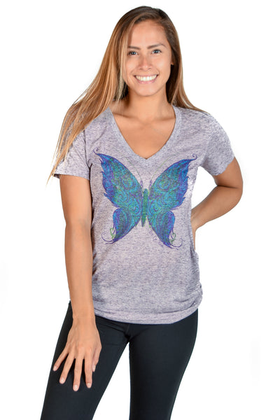 Linen V neck with Spiritual Butterfly