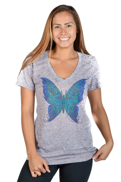 Linen V neck with Spiritual Butterfly - Third Eye Threads