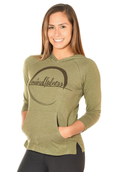 MINDFULNESS ON GREEN PULLOVER HOODIE