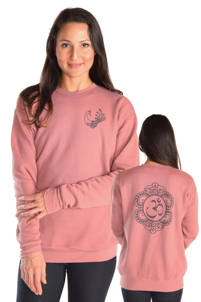 Drop Shoulder Fleece Sweatshirt with Henna Peacock - Third Eye Threads