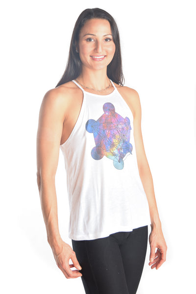 Flowy High Neck Tank with Metatron - Third Eye Threads