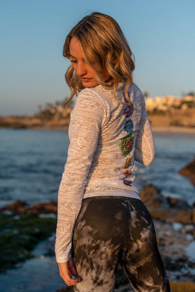 White Long Sleeve Crewneck Burnout With Full Chakra Back - Third Eye Threads