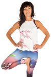Cherry Blossom  and Hummingbird Flowy High Neck Tank