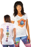 Sacral Chakra on front with Full Chakra Back on Boat Neck Burnout Crew